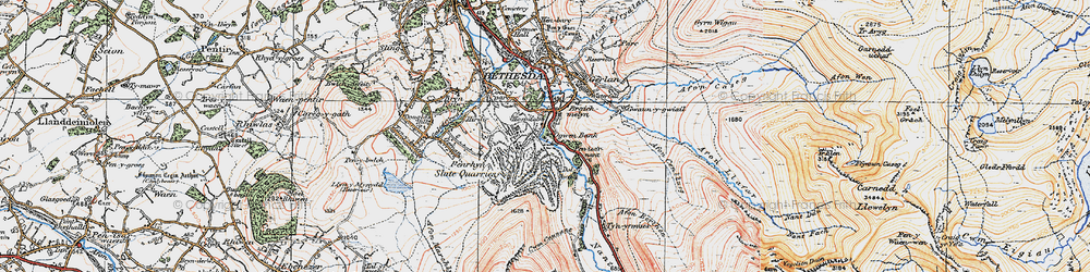 Old map of Nant Ffrancon in 1922