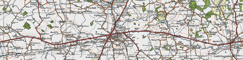 Old map of Braintree in 1921