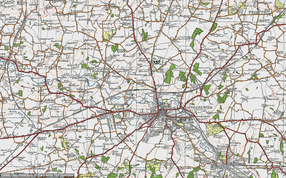 Old Map of Historic Map covering Lexden Lodge in 1921
