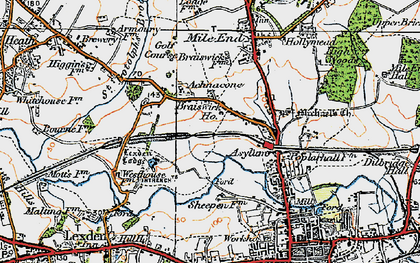 Old map of Lexden Lodge in 1921