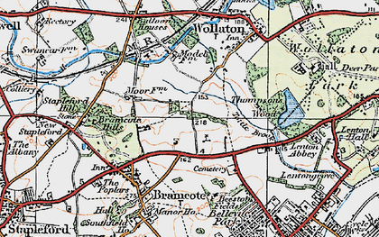 Old map of Bramcote Hills in 1921