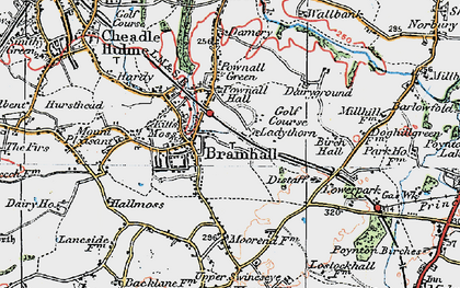 Old map of Bramhall in 1923