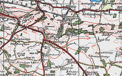 Old map of Bramhope in 1925