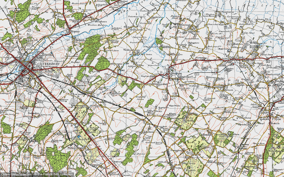 Old Map of Historic Map covering Lee Priory in 1920