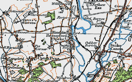 Old map of Brampford Speke in 1919