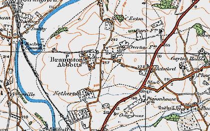 Old map of Brampton Abbotts in 1919