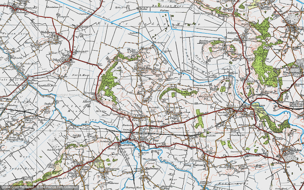 Old Map of Historic Map covering Woodbirds Hill in 1919