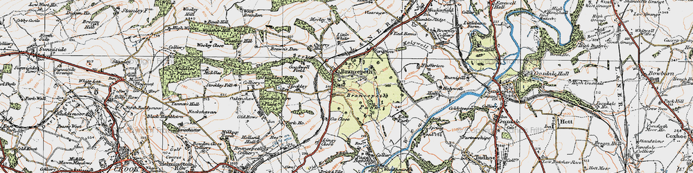 Old map of Brancepeth in 1925