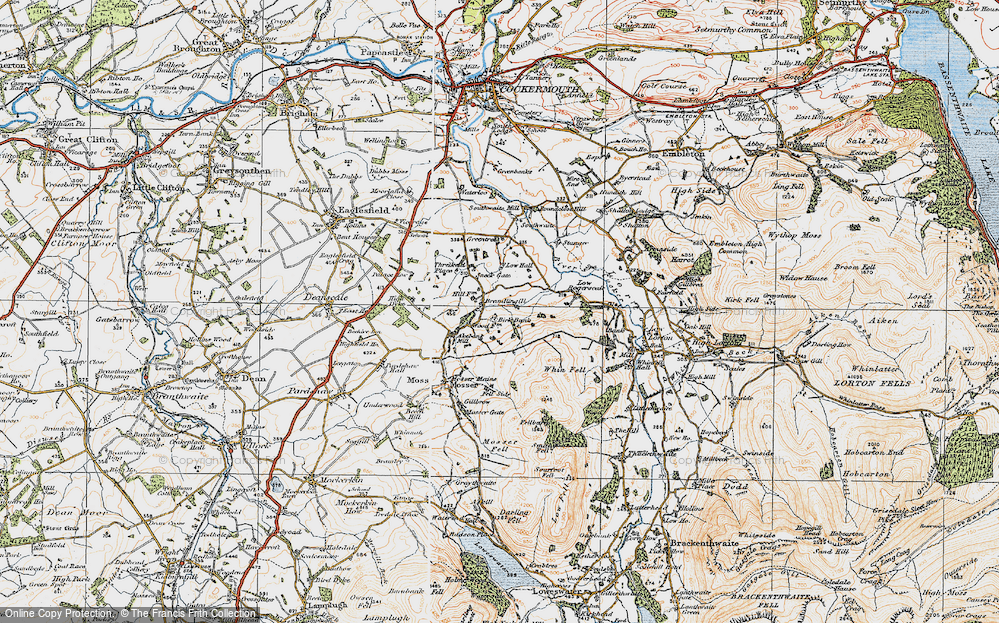 Old Map of Historic Map covering Whin Fell in 1925