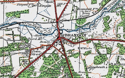 Old map of Brandon in 1920