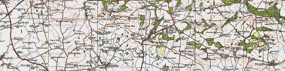 Old map of Whinny Oaks Covert in 1924