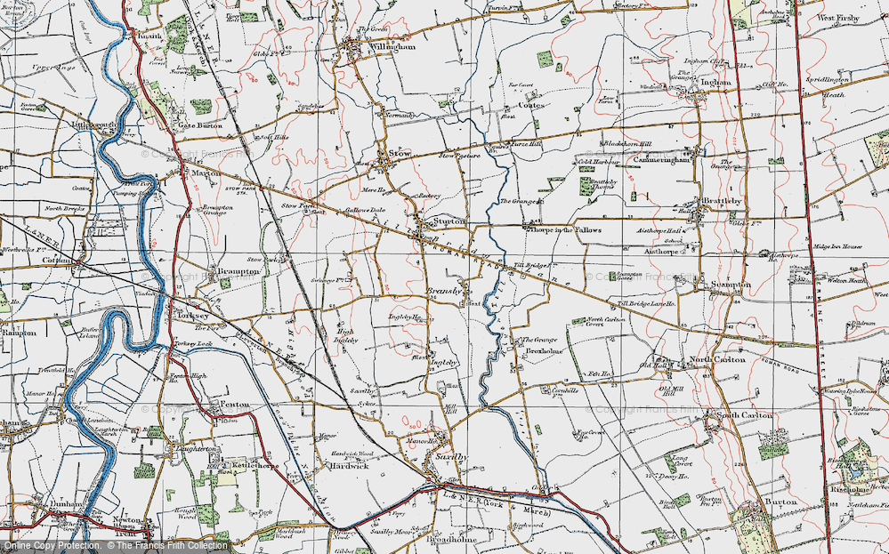 Old Map of Historic Map covering Aldhow Grange in 1923
