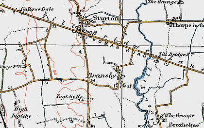 Old map of Aldhow Grange in 1923