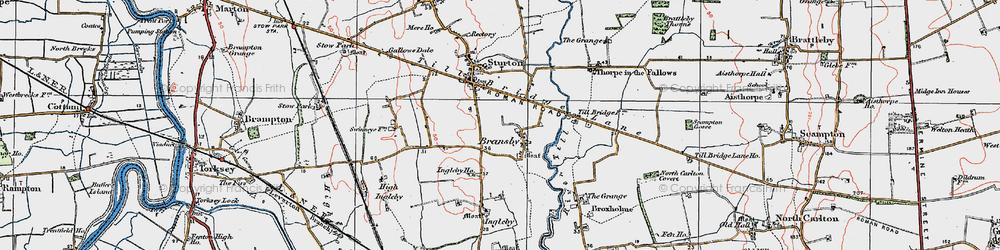 Old map of Aldhow Grange in 1923