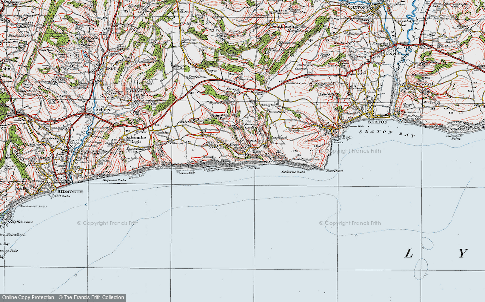 Old Map of Branscombe, 1919 in 1919