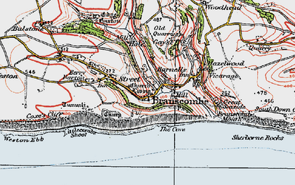 Old map of Branscombe in 1919