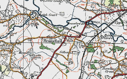 Old map of Bransford in 1920