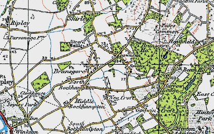Old map of Bransgore in 1919