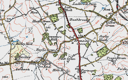 Old map of Branson's Cross in 1919