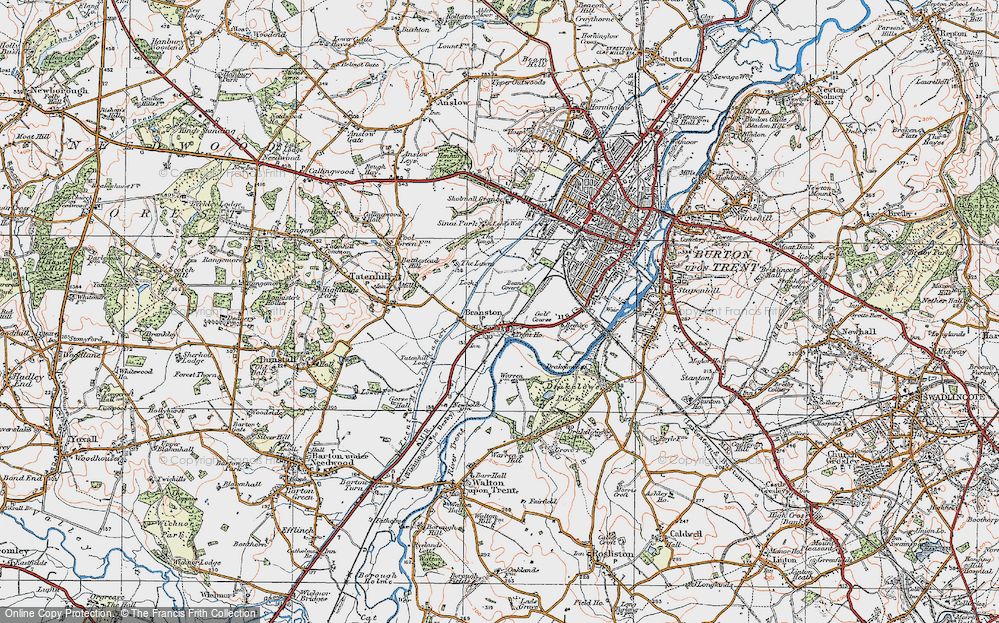 Old Map of Branston, 1921 in 1921