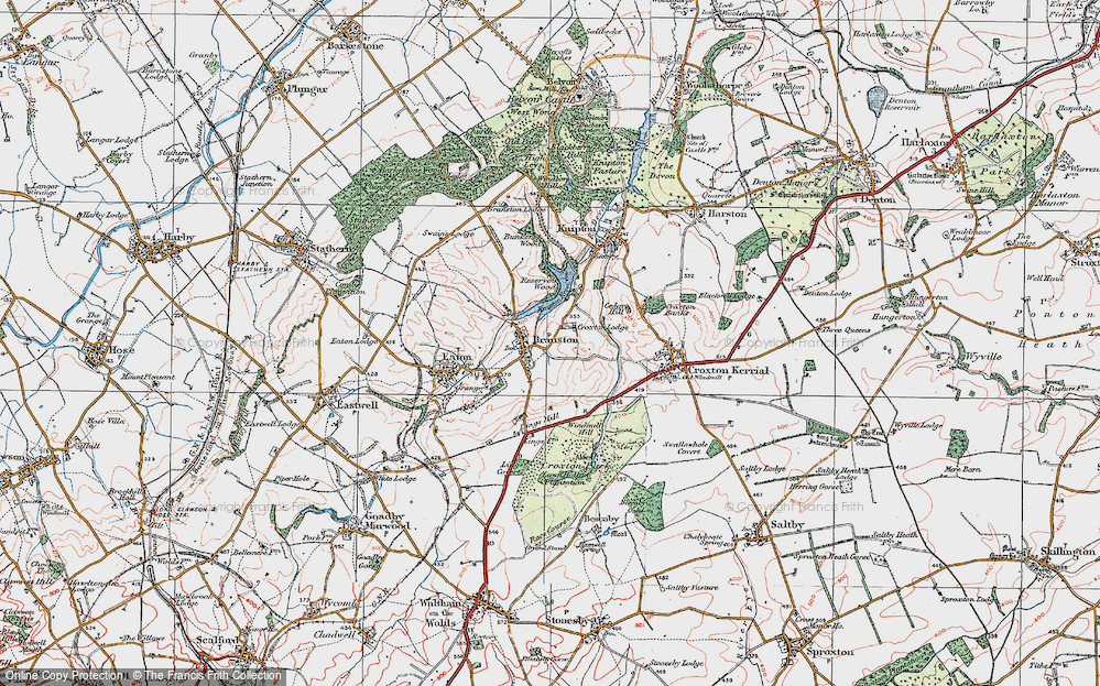 Old Map of Historic Map covering Lings Hill in 1921