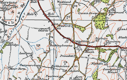 Old map of Branstone in 1919