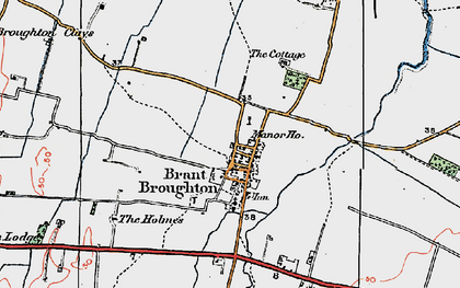 Old map of Brant Broughton in 1923