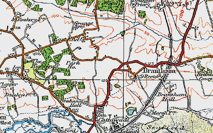 Old map of Brantham in 1921