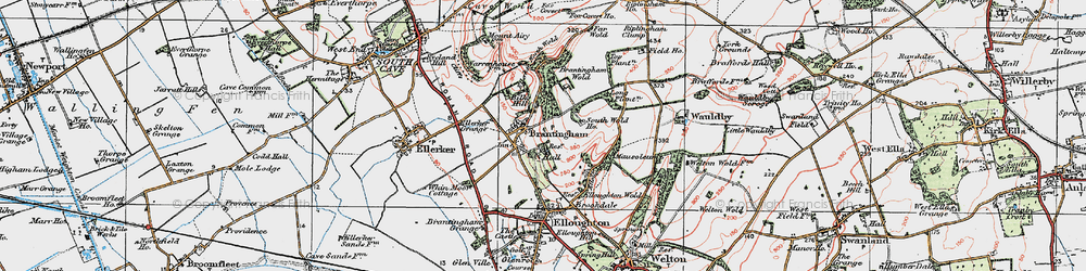 Old map of Brantingham in 1924