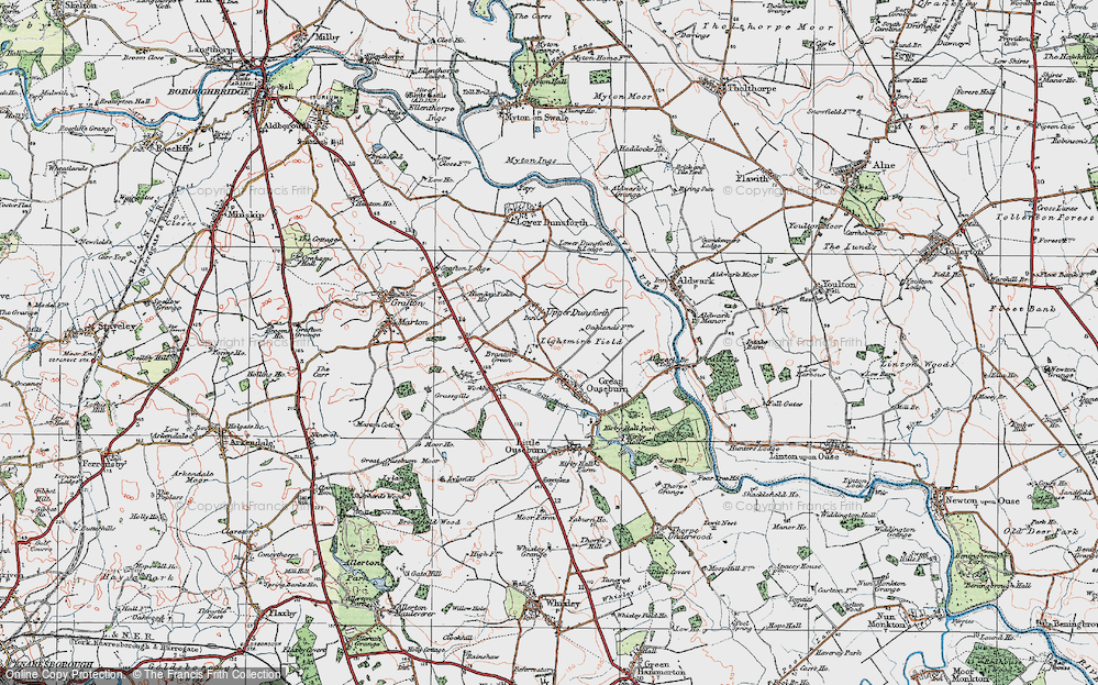 Old Map of Historic Map covering Lightmire Field in 1925