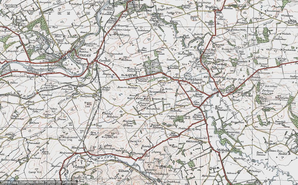 Old Map of Branxton, 1926 in 1926