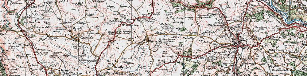 Old map of Brassington in 1923