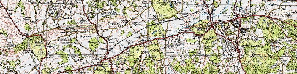 Old map of Brasted in 1920