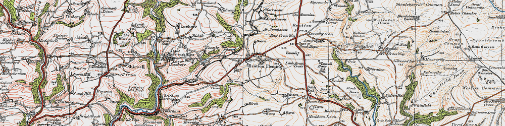 Old map of Bratton Fleming in 1919