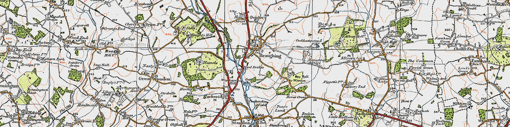 Old map of Braughing in 1919