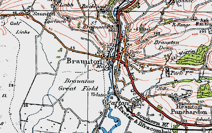 Old map of Braunton in 1919