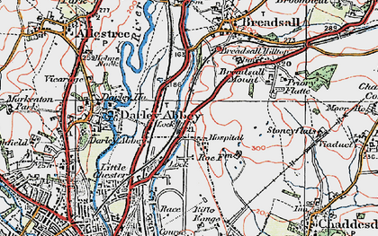 Old map of Breadsall Hilltop in 1921