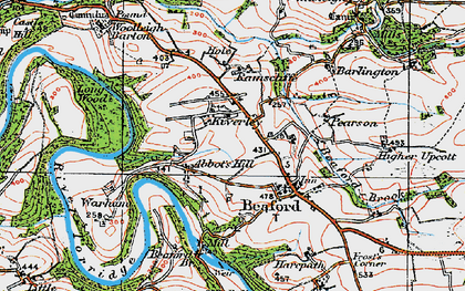 Old map of Yeory in 1919