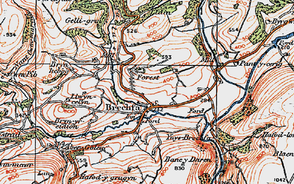 Old map of Ynys-Brechfa in 1923