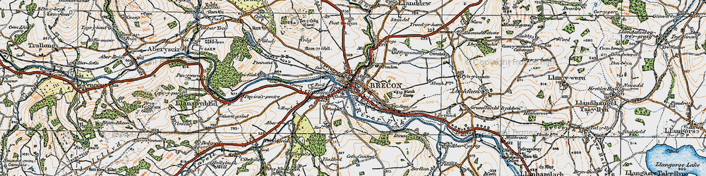 Old map of Brecon in 1923