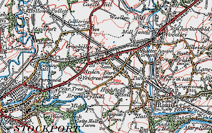 Old map of Bredbury in 1923