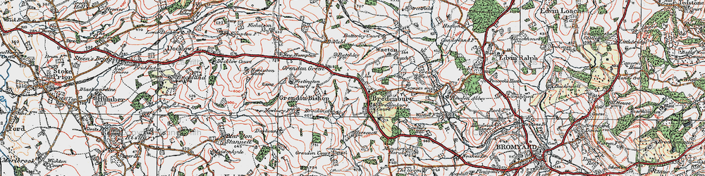 Old map of Bredenbury in 1920