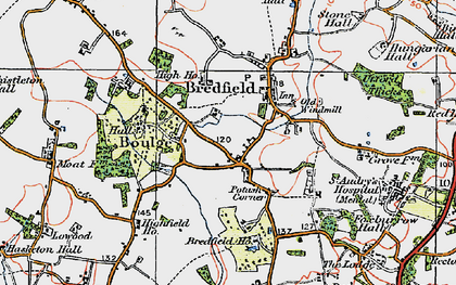 Old map of Bredfield in 1921