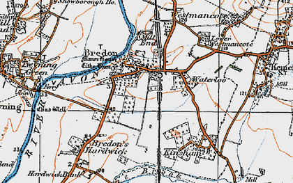 Old map of Bredon in 1919