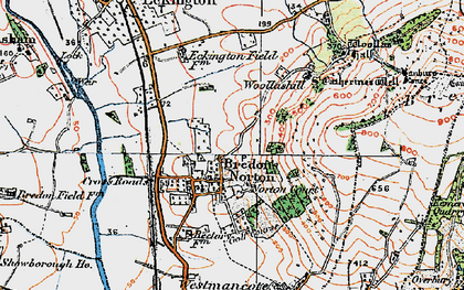 Old map of Woollas Hall in 1919