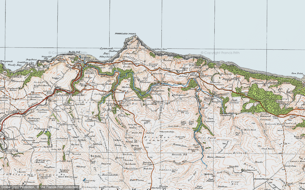 Old Map of Historic Map covering Tippacott Ridge in 1919
