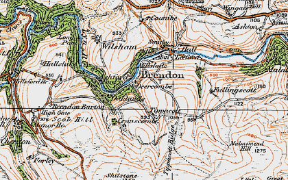 Old map of Withycombe Ridge in 1919