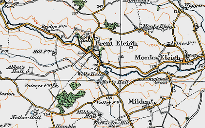 Old map of Brent Eleigh in 1921