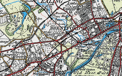 Old map of Brentford End in 1920