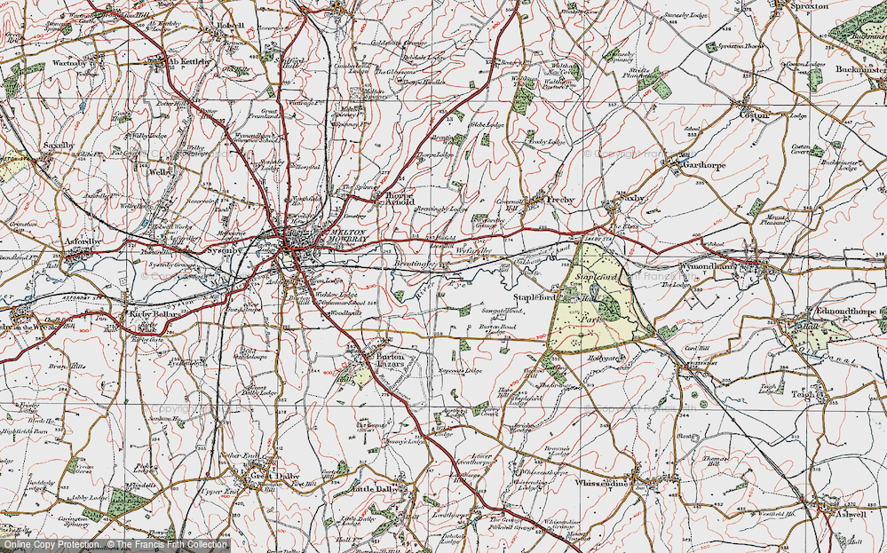 Old Map of Brentingby, 1921 in 1921